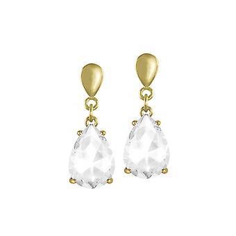 Eternal Collection Seduction Teardrop Clear Crystal Gold Tone Drop Pierced Earrings