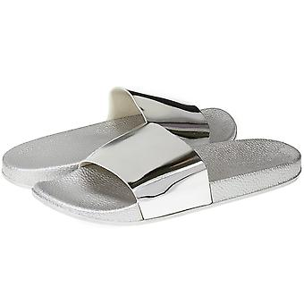 Sara Z Womens Mirror Metallic Soft Slip-On Fashion Open Toe Flat Sandal