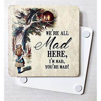 Alice In Wonderland Cheshire Cat We're All Mad Melamine Drinks Mat/Coaster (og)