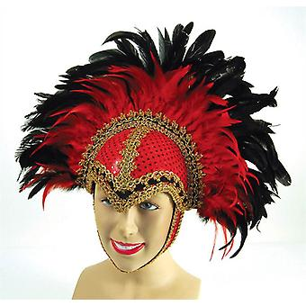 Bnov Feather Helmet Red Braiding/Plume