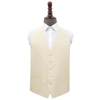Beige Plain Shantung Wedding Waistcoat