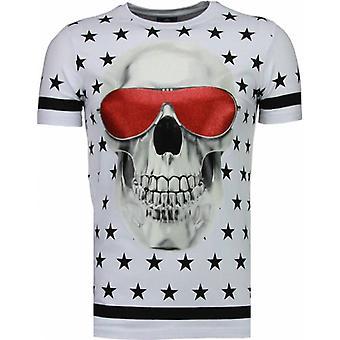 T-shirt Star Skull-Rhinestone-Blanc