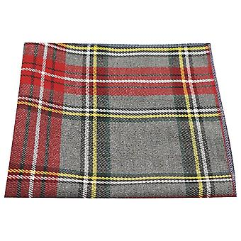 Traditional Light Grey & Red Tartan Pocket Square, Handkerchief, Check, Plaid