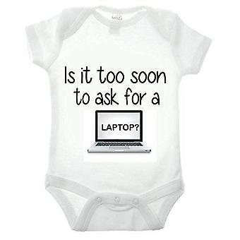 Is it too soon to ask for a laptop short sleeve babygrow