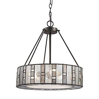 Ethan 3-light chandelier in tiffany bronze with rippled/art/mercury glass - includes led bulbs elk lighting