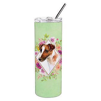 Jack Russell Terrier Green Flowers Double Walled Stainless Steel 20 oz Skinny Tu