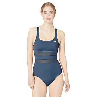 Nike Swim Women's Mesh Solid Edge V-Back One Piece Swimsuit, Monsoon Blue, X-...