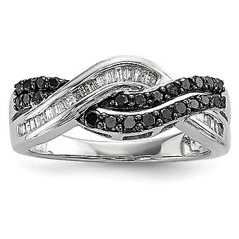 925 Sterling Silver Polished Prong set Gift Boxed Channel set Rhodium plated Baguette and round Black and White Diamond