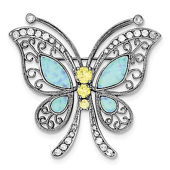 925 Sterling Silver Textured Polished Rhodium plated Blue Simulated Opal Yellow Clear Cubic Zirconia Butterfly Angel Win
