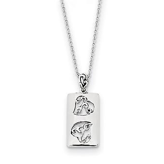 925 Sterling Silver Polished Spring Ring Namoradas Dois Colar de 18inch Joias De Joias para Mulheres