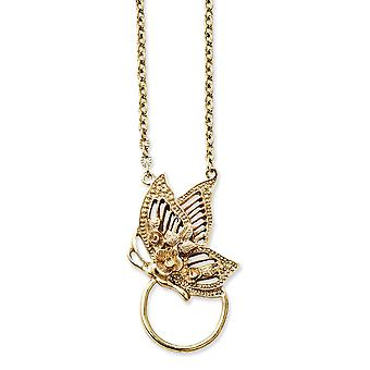 Gold tone Fancy Lobster Closure Butterfly Angel Wings Eye Glass Holder Necklace Jewelry Gifts for Women