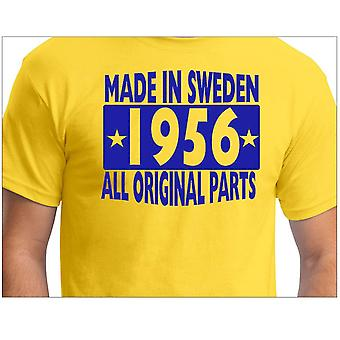 Camiseta amarela feita na Suécia 1956 Todas as peças originais