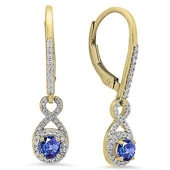 Dazzlingrock Collection 10K Round Cut Tanzanite & White Diamond Ladies Infinity Dangling Drop Earrings, Yellow Gold