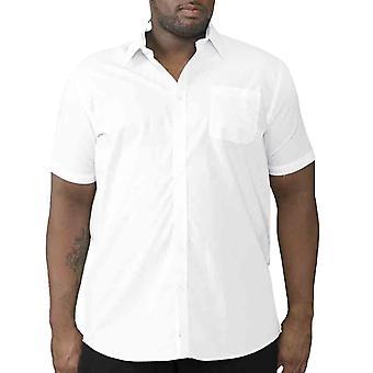 Duke D555 Mens Delmar Big Tall King Size Short Sleeve Buttoned Shirt Top - White