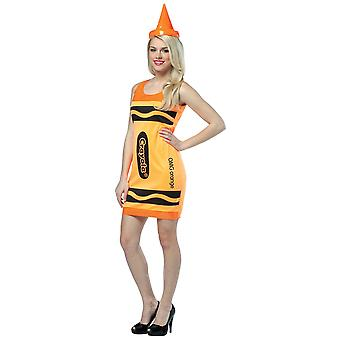 Crayola OMG Orange Crayon Color Art School Tank Dress Adult Womens Costume 4-10