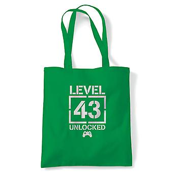 Level 43 Unlocked Video Game Birthday Tote | Age Related Year Birthday Novelty Gift Present | Reusable Shopping Cotton Canvas Long Handled Natural Shopper Eco-Friendly Fashion