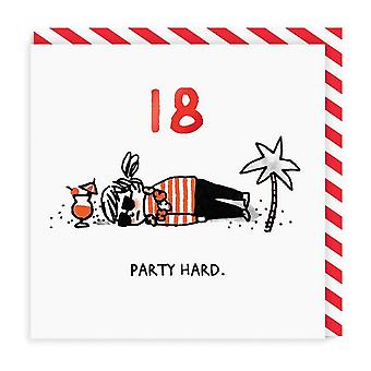 Ohh Deer 18 Party Hard Square Birthday Card