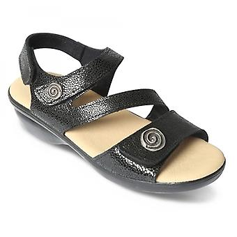 Padders Madeira Ladies Patent Leather Wide (e Fit) Sandals Black