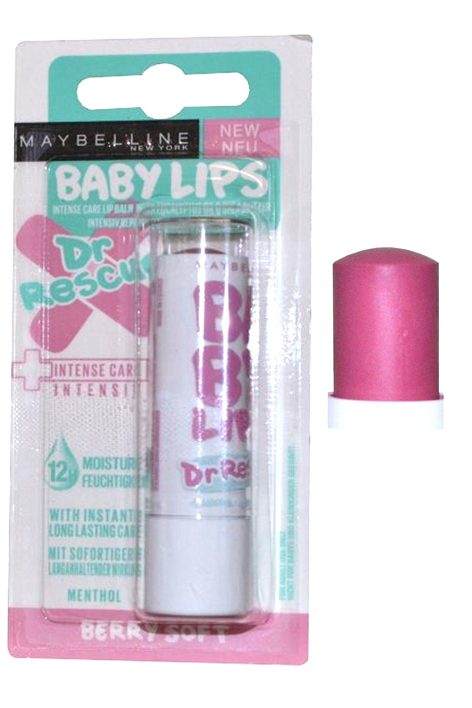 Maybelline Baby Lips Intense Care Lip Balm with Eucalyptus 4ml Berry Soft Dr Rescue