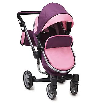 Doll buggy, doll cart Violette 9694 collapsible, swivel wheels front