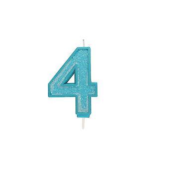 Culpitt 70mm sininen kimallus Glitter numeroiden kynttilä numero 4