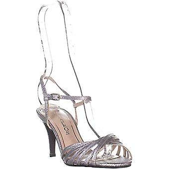 Caparros Quayliah Kitten Heel Evening Sandals, Silver Flame, 5 US