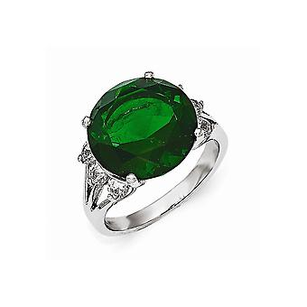 Cheryl M 925 Sterling Silver Aaa Cubic Zirconia and Glass Simulated Emerald Ring Jewelry Gifts for Women - Ring Size: 6