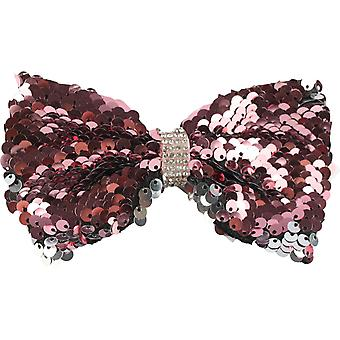 Molly & Rose Large Glitter Hair Bow Clip Pink & Silver