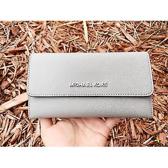 Michael kors jet set travel large trifold wallet pearl gray saffiano