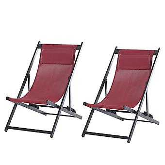 Outsunny Textilene Chaise Lounge Recliner Chair w/Adjustable Backrest Sun Bed Lounger Patio Furniture Wine Red