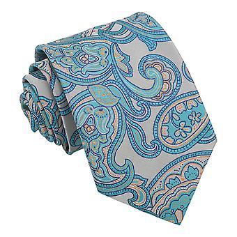 Turquoise Dahlia Paisley Modern Classic Tie
