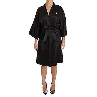 Dolce & Gabbana Black Kimono Gown Silk Dressing Robe