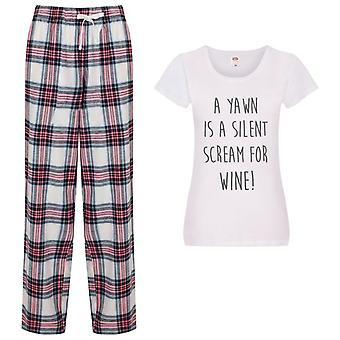 Ladies A Yawn Is A Silent Scream For Wine Tartan Trouser Pyjamas