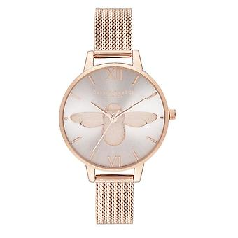 Olivia Burton Watches Ob16am161 Demi Blush Dial & Rose Gold Mesh Ladies Watch
