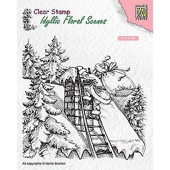 Nellie's Choice clearstamp - Idyllic Floral Scenes Santa at work IFS018 110x110mm