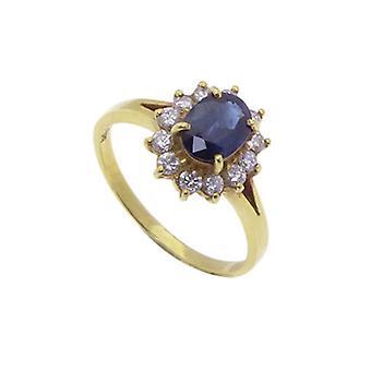 Keltainen kulta safiiri rengas timantteja