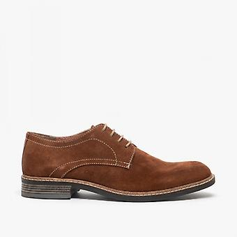 Roamers Arthur Mens Suede Lace Up Derby Sapatos Tan
