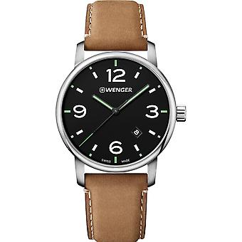 Wenger Urban Metropolitan Quartz Black Dial Brown Leather Strap Mens Watch 01.1741.117