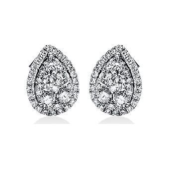 Boucles d'oreilles en goujon de diamant - 18K 750/- or blanc - 1,49 ct. - 2H346W8-1