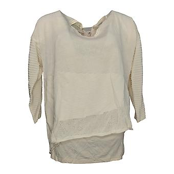 Laurie Felt Women's Sweater 3/4-Sleeve V-Neck w/ Camisole Ivory A309558