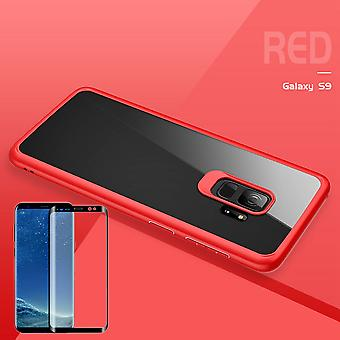 For Samsung Galaxy S9 G960F original ROCK silicone case pouch case red + 4 d glass