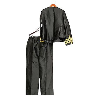Masseys Plus Set Soutache Embellished Jacket & Pants Black