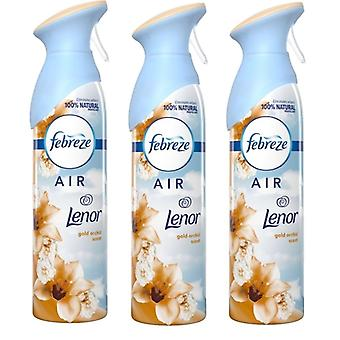3 X 300 ml Febreze Air Freshener Can Spray - Lenor Gold Orchid