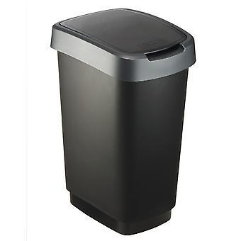 Rotho Odpadový kôš TWIST 25 litrov Tmavé striebro | Odpadkový kôš s hojdačkou a skladacím vekom