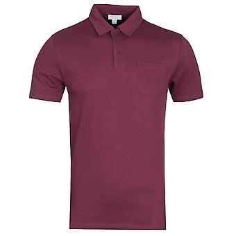 Sunspel Marron Red Short Sleeve Polo Shirt