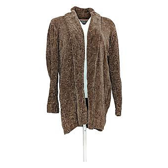 Anybody Women's Sweater Chenille Relaxed Blazer Cardigan Beige A310158