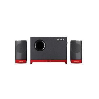 SonicGear Morro 2 2.1 Speaker With Wooden Sub Woofer Set - Red