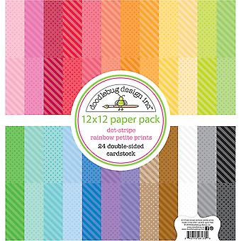 Doodlebug Design Dot-Stripe Rainbow 12x12 Inch Petite Prints Paper Pack