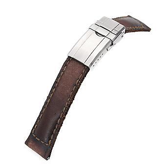 Strapcode cinturino in pelle per vitello 20mm gunny x mt marrone scuro fatto a mano cinturino in pelle a rilascio rapido, un pezzo unico, chiusura girevole
