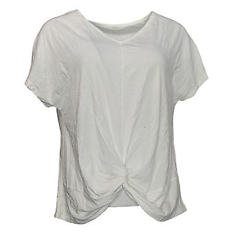 Anybody Women's Top Short Sleeve Twist Front Tee White A377765